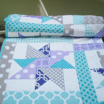 Handmade Baby quilt,Newborn Baby quilt blanket,baby girl quilt,modern,baby girl bedding,crib quilt,purple,teal,grey-Purple Star Sensation
