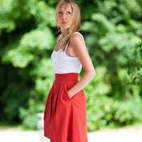 EmersonMade. ~ Pockets Skirt - Red Twill