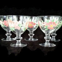Crystal Sherbet Glasses, Hand Painted Glasses,  Crystal Dessert Bowls