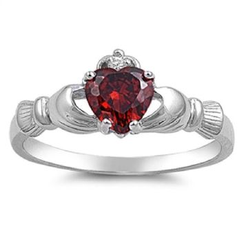 Choose Color Irish Claddagh Promise Ring Rhodium Plated Sterling Silver Heart Claddagh Promise Ring Birth Month