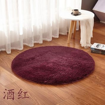 European Soft Solid Color Round Carpet Living Room Bedroom Rug Children Play Area Decor Slip Resistant Mats Warm Floor Rugs