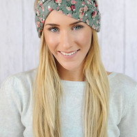 Floral Turband HeadBand Knit Hair Band Stretchy Women's Hair Wrap Knit Sweater Material