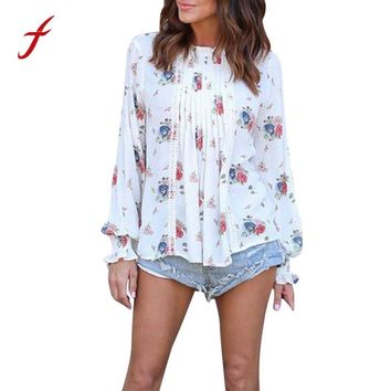 New Autumn Casual Women Blouse Shirts Women Long Sleeve Chiffon Floral Print Fashion Shirt Loose Blouse Tops O-Neck Blouses