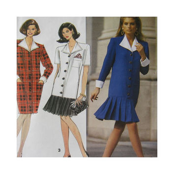 Simplicity Sewing Pattern 7608 Misses Dress Pleated Flounce Size 6 8 10 Uncut