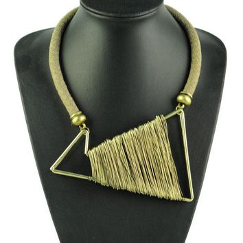 Unique Jewelry - Fashion Big Metal Choker Necklace, Geometric Figure Shape Antique Wire Wrap Chokers Necklace  NL-1572