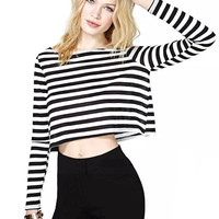 Black and White Stripe Crew Neck Cropped Top