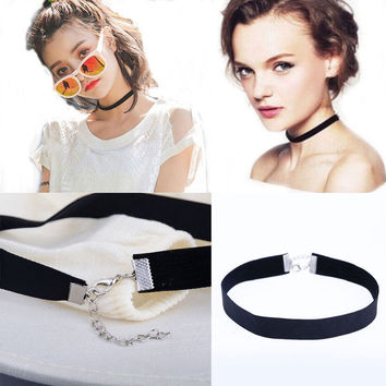 Womens 90's Black Velvet Choker Necklace Goth Gothic Handmade Retro Burlesque Jewelry + Gift Box