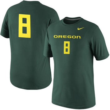 Nike Oregon Ducks #8 Legend Number Performance T-Shirt - Green