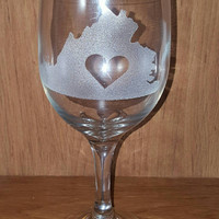 Laser Engraved State with Heart Glass ~ Wine Glass ~ Tea Glass ~ State Pride