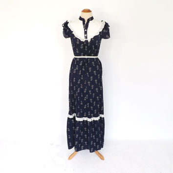 Vintage 1970s Jacqueline's Hawaii Dress 70s Cotton Maxi Dress Eyelet Lace Navy Blue Sundress Hippie Prairie Folk Long Country Dress