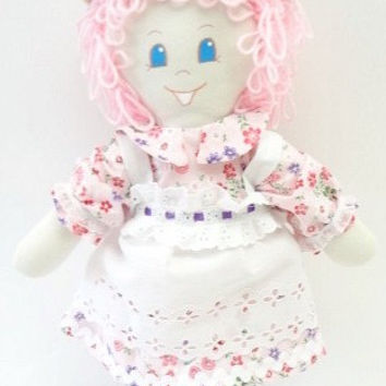 fun surprise rag doll handmade hand ragdoll pink curly hair blue eyes mary jane shoes pink flowered dress NF193