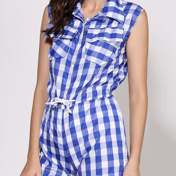 Blue Shirt Collar Sleeveless Plaid Waist Drawstring Romper