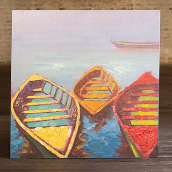 Oil Painting- Three Colorful Boats