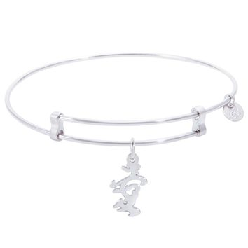 Sterling Silver Confident Bangle Bracelet With Love Symbol Charm