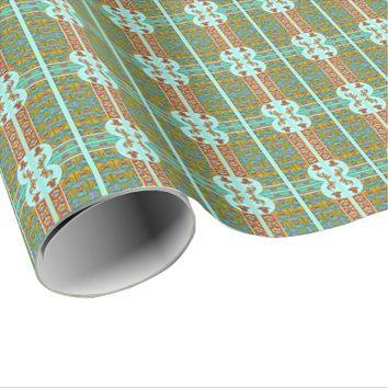 Art nouveau orange and turquoise floral giftwrap wrapping paper