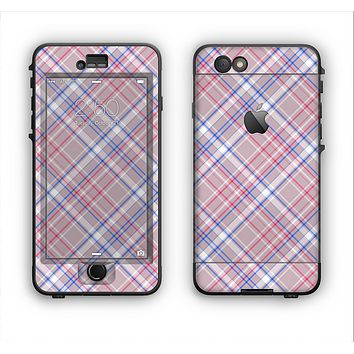 The Pink and Blue Layered Plaid Pattern V4 Apple iPhone 6 LifeProof Nuud Case Skin Set