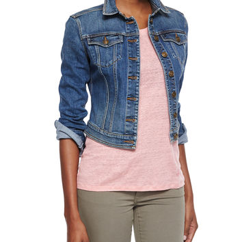 Denim Cropped Trucker Jacket,