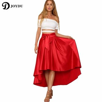JOYDU Slip Satin Dovetail Long Skirts Womens Empire 2017 Summer Vintage Skirt Elegant Lace-up Bow Women Party Tutu Tulle Skirt