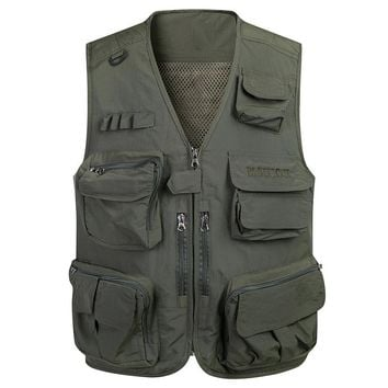 4XL Men Summer Multi-Pocket Classic Waistcoat Sleeveless Male Unloading Solid Quick Dry Coat Photographer Tactical Field Vest