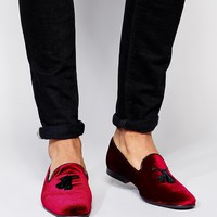 ASOS Tassel Loafers in Velvet at asos.com