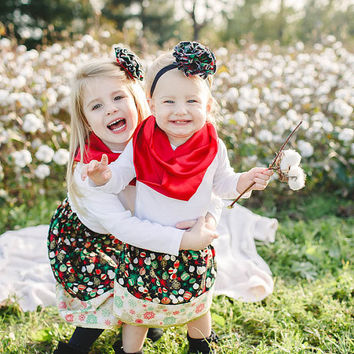 Girls Christmas Outfit - Baby Girls Christmas Outfit - Toddler Skirt - Baby Skirt - Holiday Outfit - Holiday Skirt - Girls Skirt,Girl Outfit