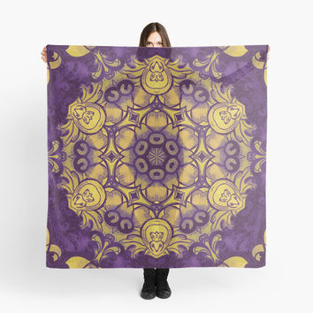 'mandala 7 yellow purple #mandala' Scarf by Lionmixart