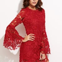 Red Overlay Bell Sleeve Embroidered Lace Dress