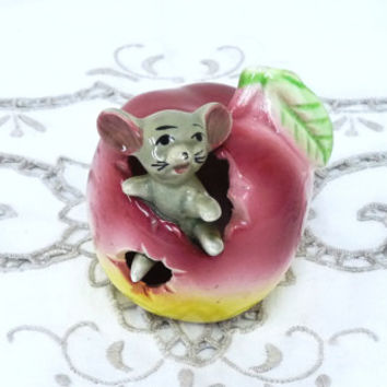 Mouse in an Apple Ceramic Figure, Toothpick Holder, Kitsch, Mid Century, 1950's, Figurine, Ornament, niknak, hand painted, housewares