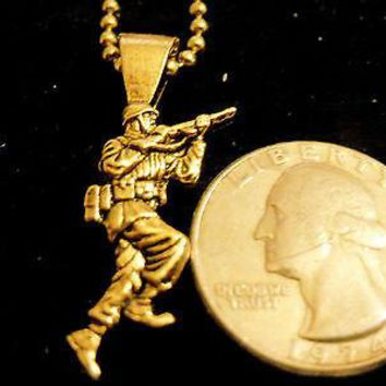 bling gold plated army soldier pendant charm usmc marine chain hip hop necklace
