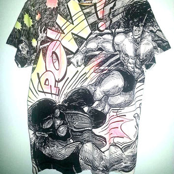 The ULTIMATE WARRIOR Tshirt 1990 Vintage WWF Wrestling Rare All Over Print Size Extra Large