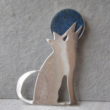 Vintage Great Falls Metal Works Sterling SILVER Coyote Howling at a LAPIS Lazuli MOON Pin, Hand-Crafted Brooch