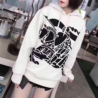"""Burberry"" Women Casual Fashion Embroidery War Horse Knight Long Sleeve Pullover Hooded Sweater Sweatshirt Tops"
