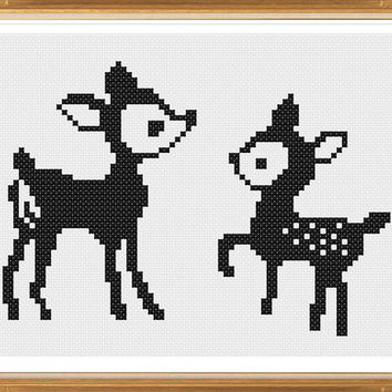 Deers Silhouette Cross Stitch Pattern, Counted Cross Stitch Patterns,Home Decor,instant Download Cross Stitch Patterns