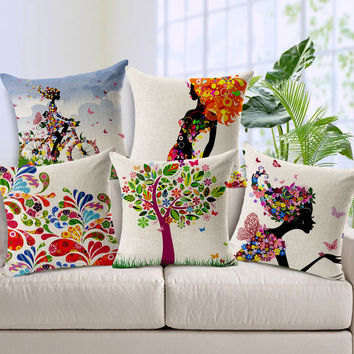 Fashion Simple Cotton Linen Cushion Cover Colorful Tree and Charming Woman Pattern Chair Waist Pillowcase Throw Pillow Cover