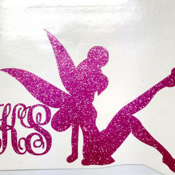 "3"" Tinker Bell Monogram Sticker in glitter vinyl with personalize initials"