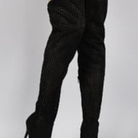 Women's Privileged Suede Perforated Pointy Toe Stiletto Thigh High Boot