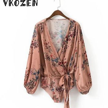 VKOZEN Sexy Bloom Floral Print Deep Cross V-Neck Tied Bow fit Romper Body Siamese Bodysuit Vintage Women Long Sleeve Undershirt