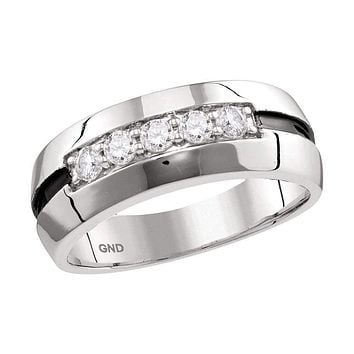 10kt White Gold Men's Round Diamond Wedding Black Groove Band Ring 1/2 Cttw - FREE Shipping (US/CAN)