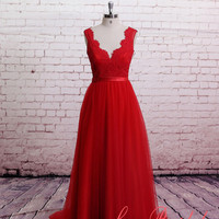 Classic Lace Evening Dress,Brush Train Prom Dress , A-line Red Bridesmaid Dress, Sweetheart Party Dress