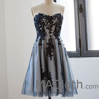 Strapless Sweetheart Short Dark Navy Lace Homecoming Dress, Mini Prom Dress