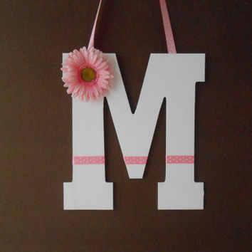 Painted Wooden Letter -  Initial - Hand Painted Letter -  Wall Decor - Door Decor - Wreath - Gerber Daisy - Graduation Gift - Dorm Decor