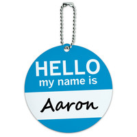 Aaron Hello My Name Is Round ID Card Luggage Tag