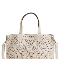 Junior Women's Street Level Perforated Faux Leather Mini Tote - Ivory