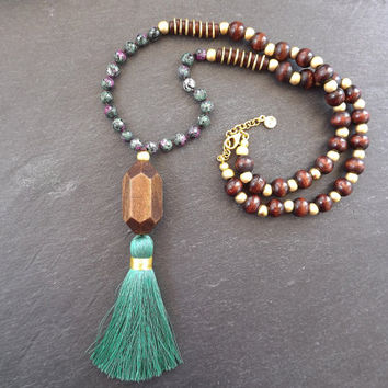 Long Beaded Tassel Necklace Gypsy Jewelry Hippie Bohemian Artisan -  Green Purple Wooden Beads