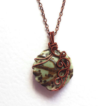 Wire wrapped handmade Pendant  Collection of Porcelain Beads 1. copper wire mint green