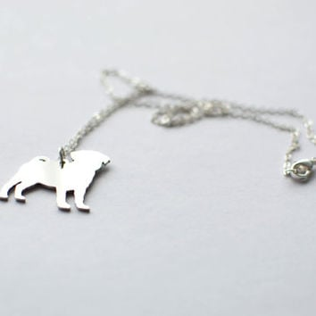 Pug necklace. Sterling silver chain