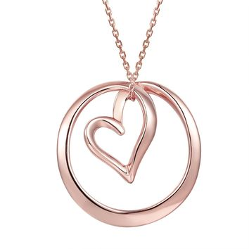 Open Heart Love Circle 14k Rose Gold Finish Pendant Necklace