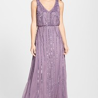 Women's Adrianna Papell Beaded Mesh Blouson Gown,