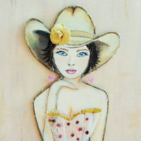 Cowgirl Art- Country Western Painting- Mixed Media- Collage on Canvas-16X20 inches