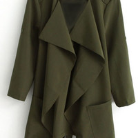 ROMWE | Lapel Buttonless Army-green Trench Coat, The Latest Street Fashion